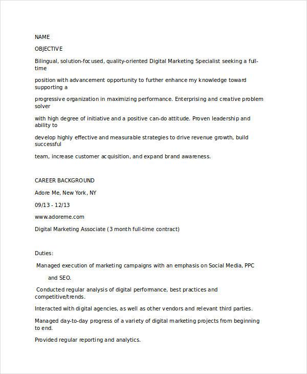 20+ Modern Marketing Resume Templates - PDF, DOC Free  Premium