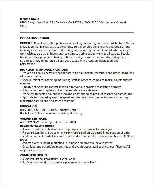 20+ Modern Marketing Resume Templates - PDF, DOC Free  Premium - marketing intern resume
