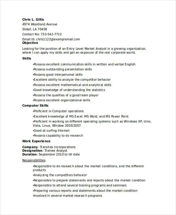 business analyst modern resume template