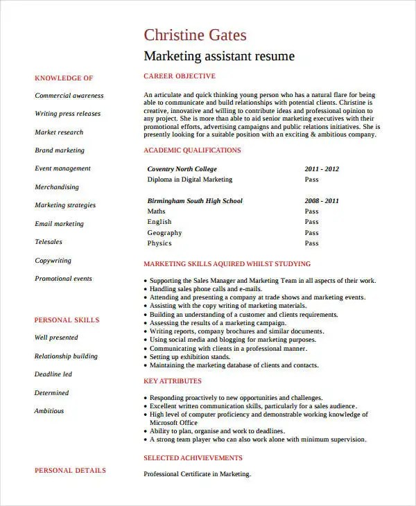 Modern Marketing Resumes - 32+ Free Word, PDF Documents Download - marketing assistant resume