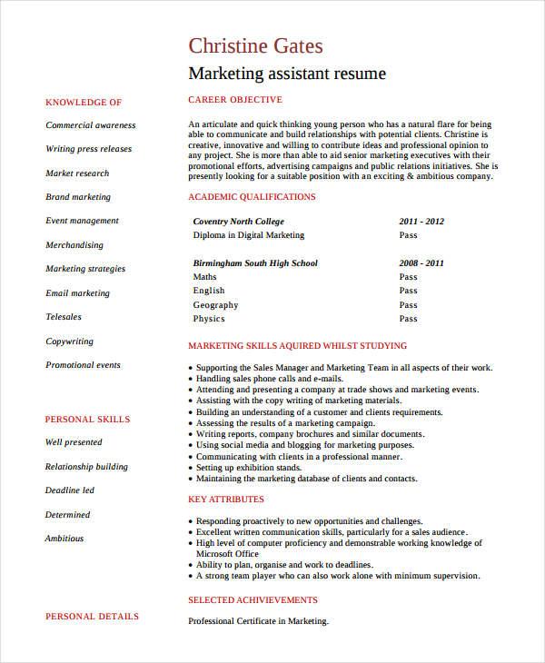 resume samples for marketing post
