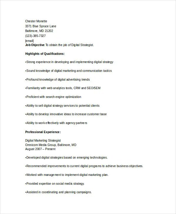 Funky Marketing Strategist Resume Ensign - Professional Resume