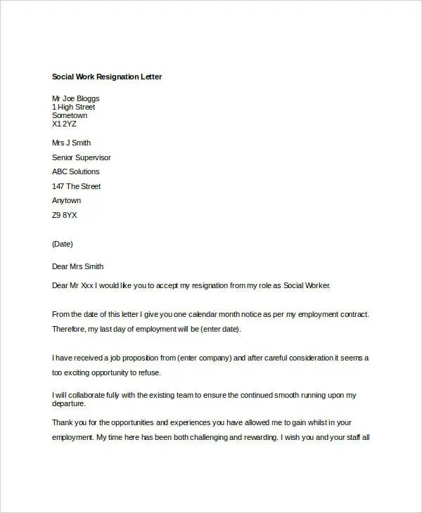 10+ Work Resignation Letter - Free Word, PDF Documents Download