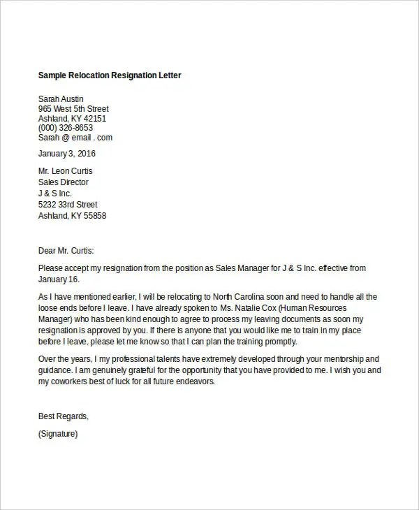 resignation letter for relocation