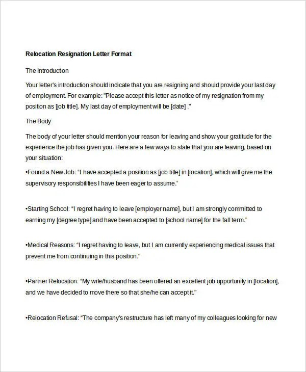 10+ Relocation Resignation Letter - Free Word, PDF Document Download