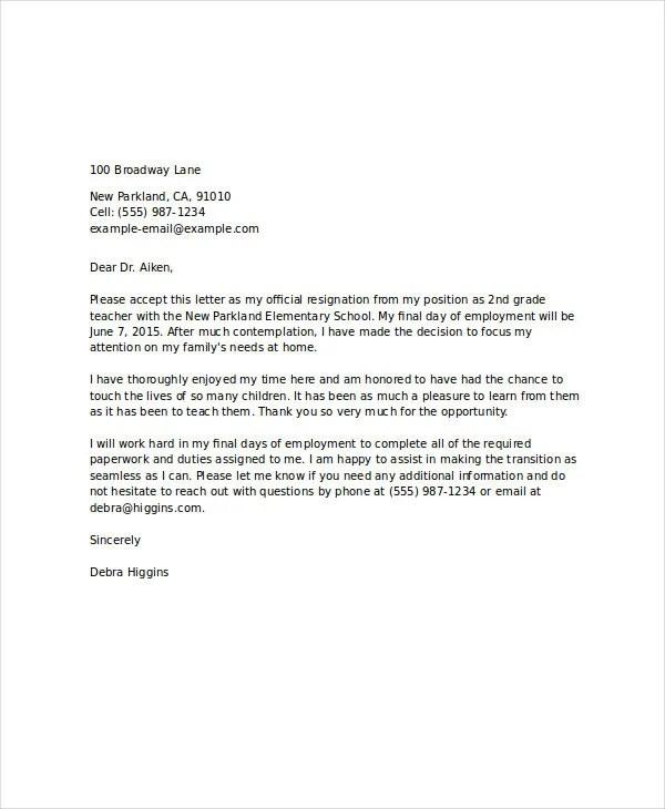 8+ Standard Resignation Letter Templates - Free Word, PDF Format