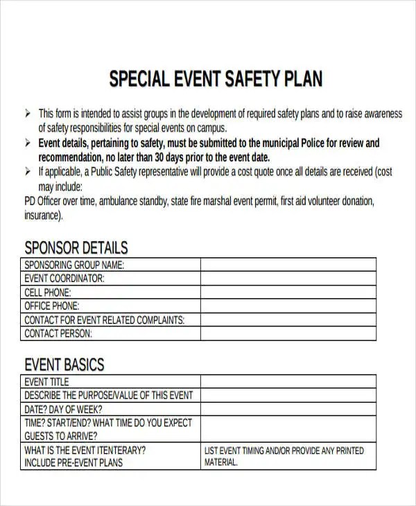 19 Event Plan Templates in PDF Free  Premium Templates - safety plans