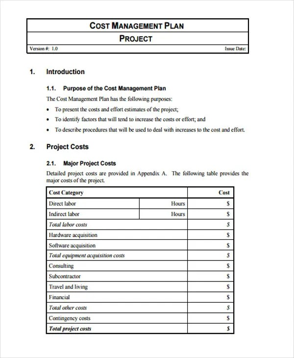 cost management plan template - Ozilalmanoof