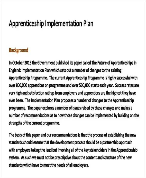 34 Implementation Plan Templates in PDF Free  Premium Templates