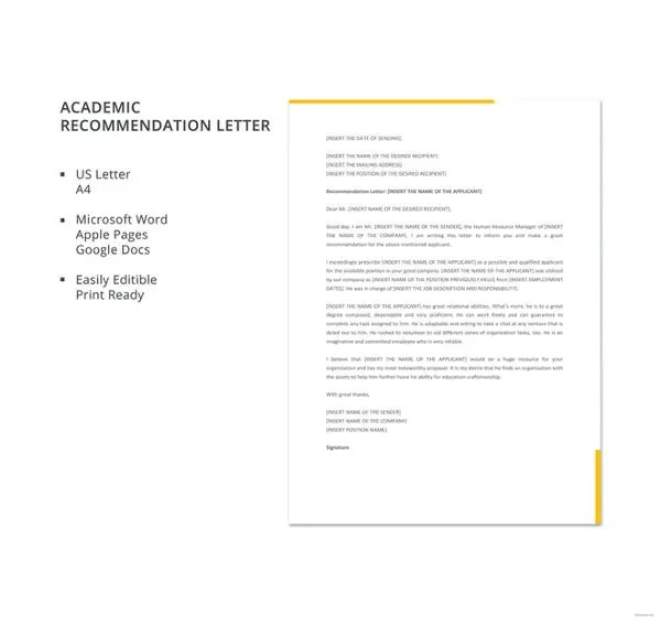 32+ Sample Recommendation Letter Templates Free  Premium Templates