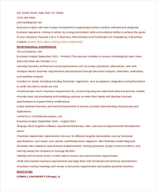 Best Business Resume - 30+ Free Word, PDF Document Download Free - reconciliation analyst sample resume