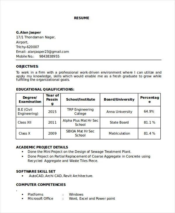 16+ Best Fresher Resume Templates - PDF, DOC Free  Premium Templates - fresh graduate resume