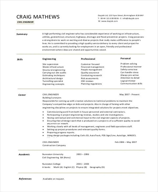 resume format civil engineer professional resumes sample online