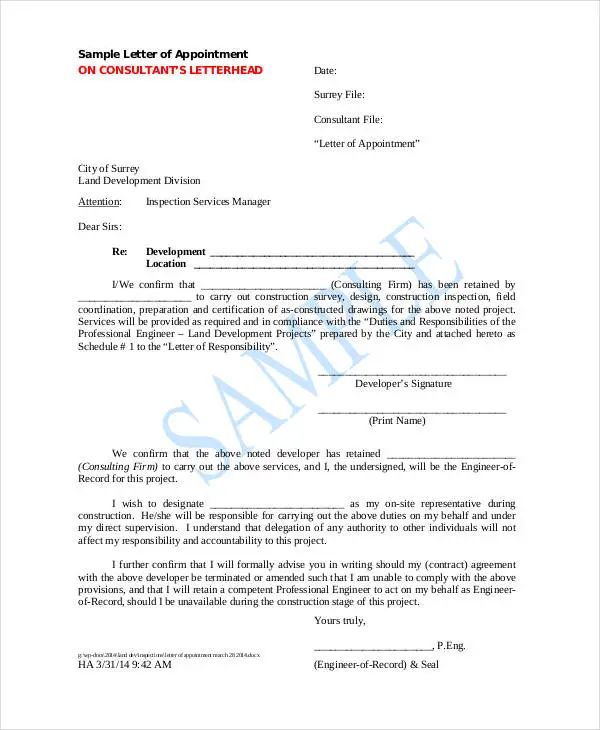 business appointment letters