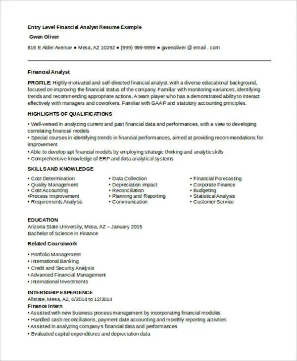 entry level analyst resume hitecauto - sample financial analyst resume