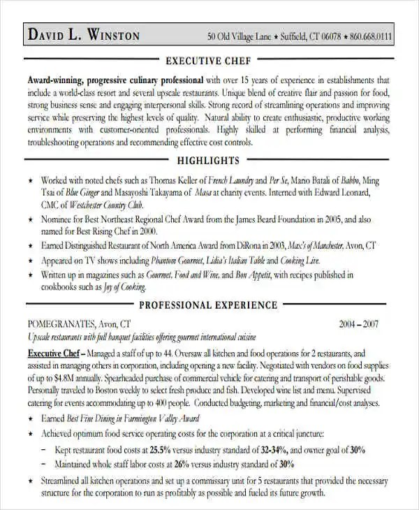32+ Modern Executive Resume Templates Free  Premium Templates - executive chef resume pdf