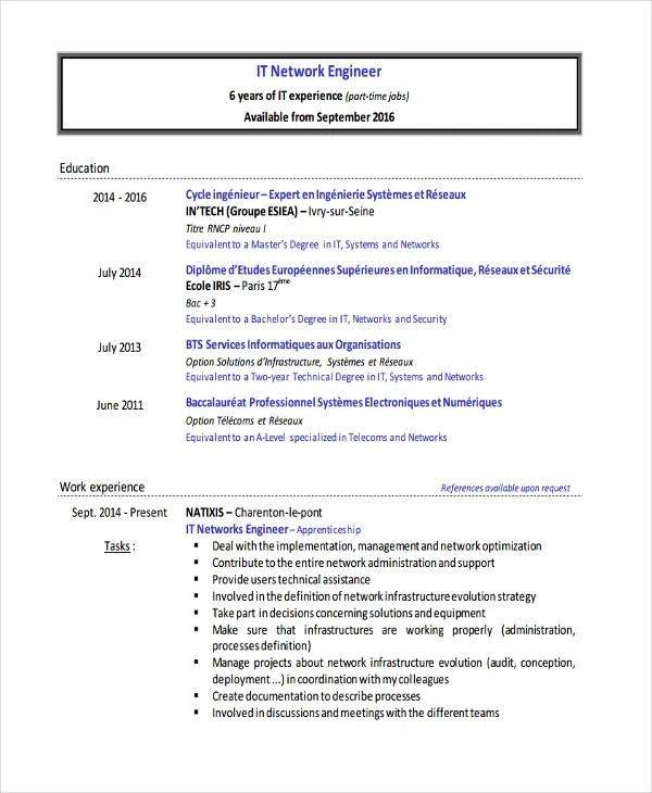 Basic IT Resume Templates - 27+ Free Word, PDF Documents Download