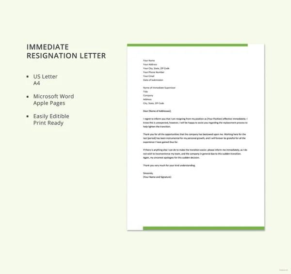 9+ Standard Resignation Letter Template - Free Sample, Example