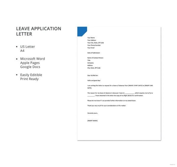 20+ Leave Letter Templates - PDF, DOC Free  Premium Templates - sample leave application
