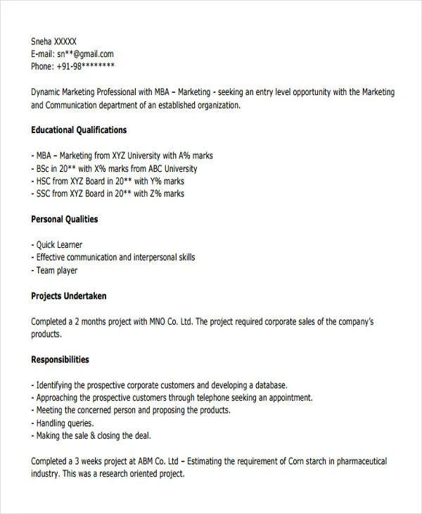 best resume for freshers