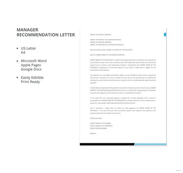 recommendation letter from manager