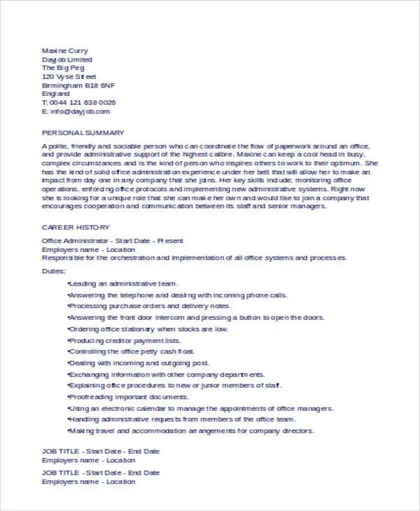 25+ Basic Administration Resumes Free \ Premium Templates - office administration resume