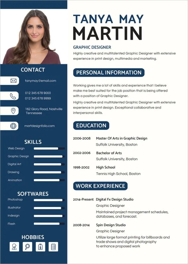 46+ Modern Resume Templates - PDF, DOC, PSD Free  Premium Templates - graphic design resumes