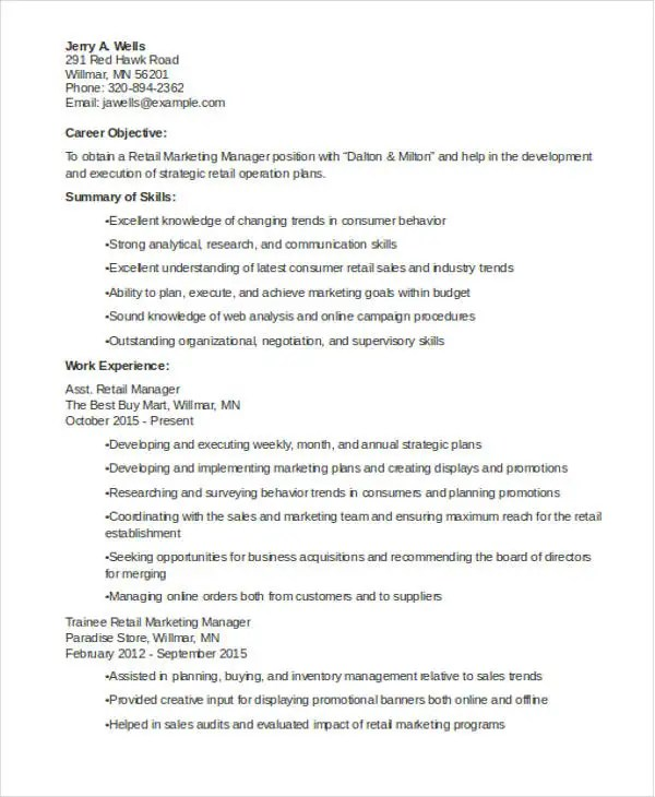 30+ Professional Marketing Resume Templates - PDF, DOC Free