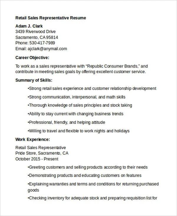 19+ Sales Resume Templates - PDF, DOC Free  Premium Templates - sales representative resume templates