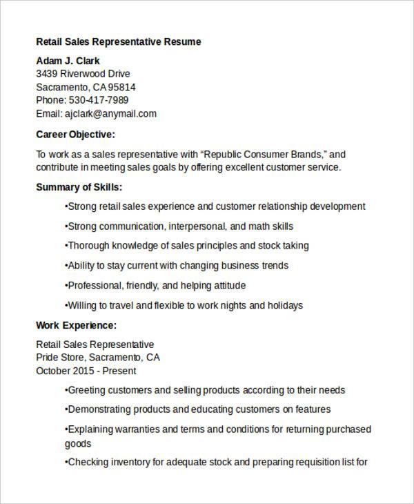 retail sales representative cover letter