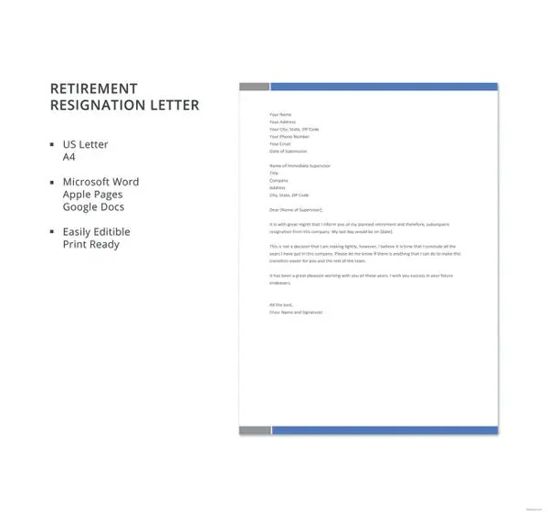 7+ Sample Retirement Resignation Letters - Free Sample, Example - how to write a letter of resignation due to retirement