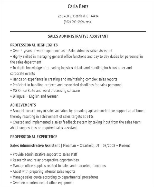 Sales Assistant Resume Templates - 7+ Free Word, PDF Format Download