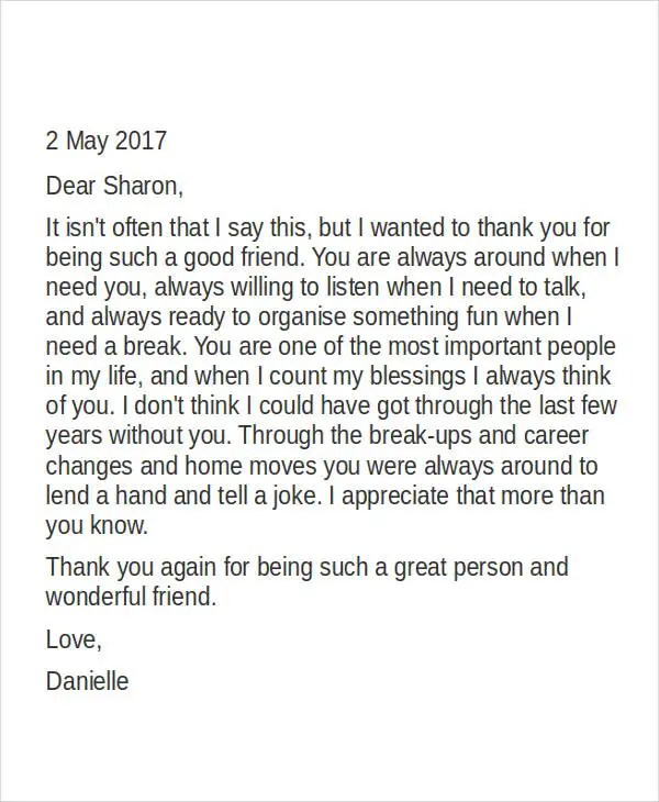 personal thank you letter example about