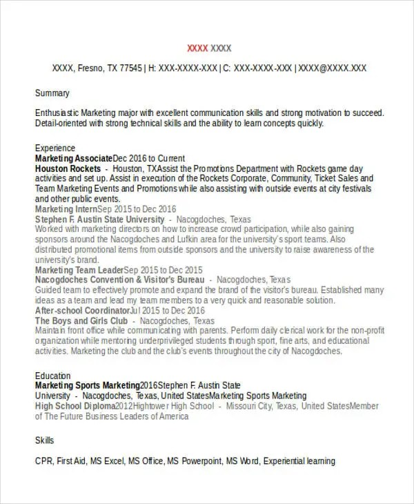 Awesome Sports Resume Template Sports Ticket Sales Resume