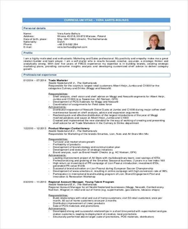 30+ Simple Marketing Resume Templates - PDF, DOC Free  Premium - category analyst sample resume