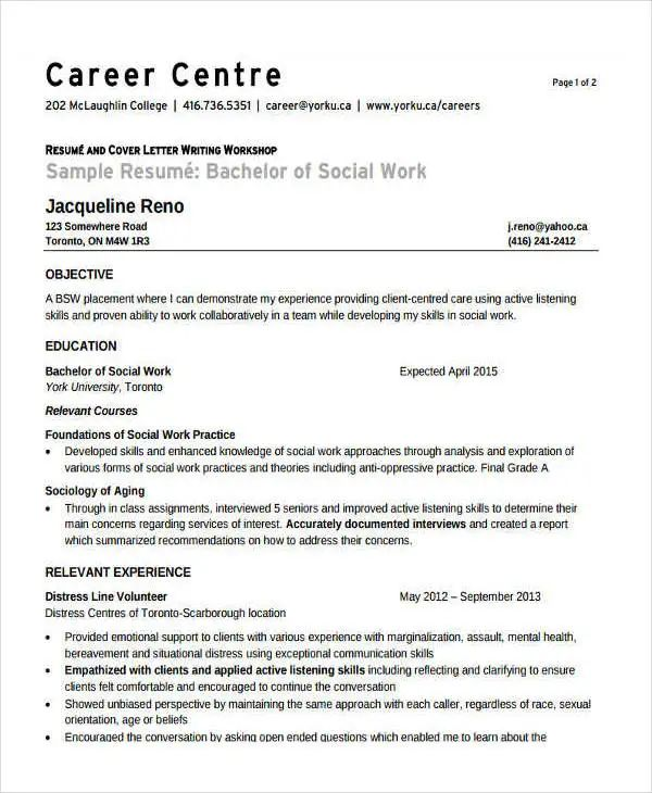 sample social work resume cover letter