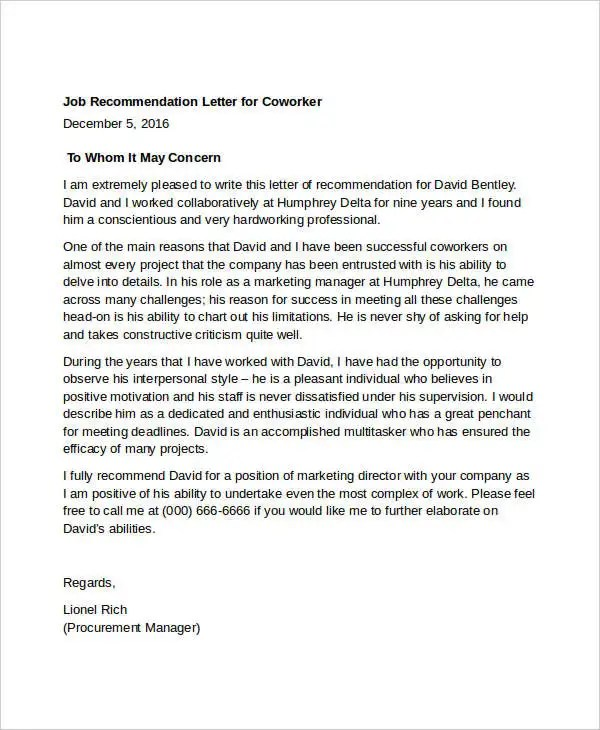 11+ Coworker Recommendation Letter Templates - PDF, DOC Free - letter of recommendation for coworker