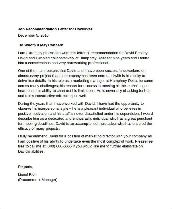 recommendation letter for a coworker