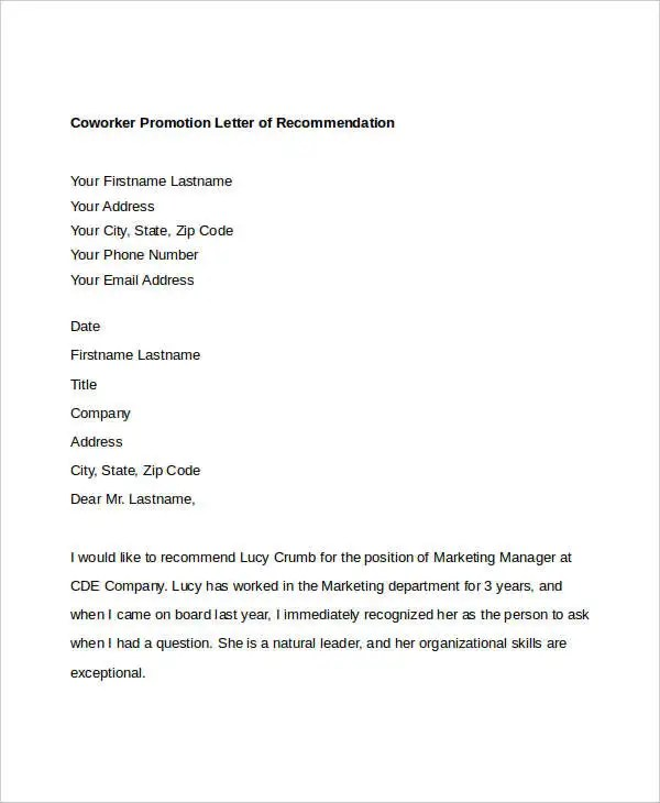 11+ Coworker Recommendation Letter Templates - PDF, DOC Free - recommendation letter from colleague