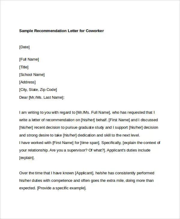 letters of recommendation for grad school
