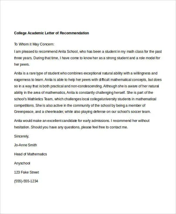 10+ Academic Recommendation Letters Free  Premium Templates