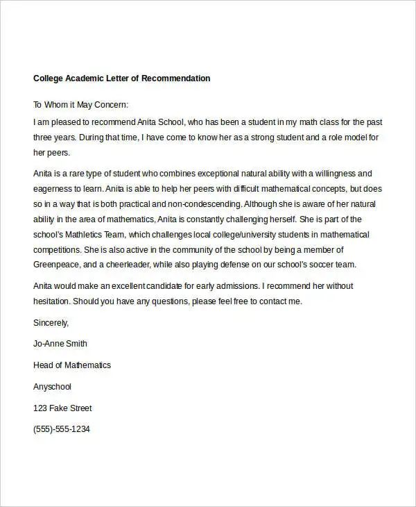 letters of recommendation scholarship sample