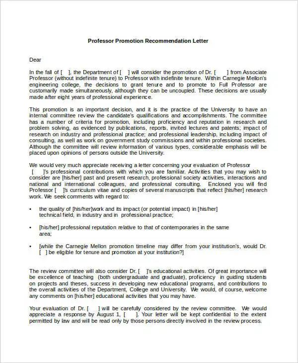 example letter of recommendation for professor tenure