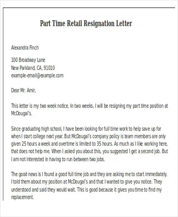 11+ Retail Resignation Letter Template - Free Word, PDF Format