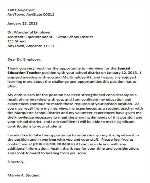 8 Sample Teacher Thank You Letters Free Sample Example Format