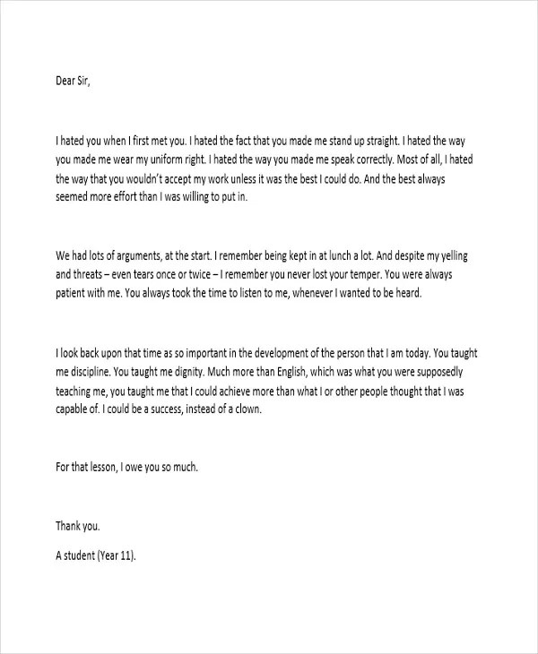 13+ Sample Teacher Thank You Letters - Free Sample, Example Format