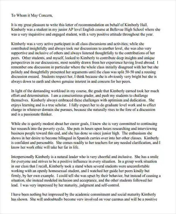 9+ High School Recommendation Letter Template - 10+ Free Word, PDF - recommendation letter for high school student