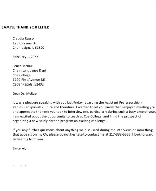13+ Sample Formal Thank-You Letter - Free Sample, Example Format