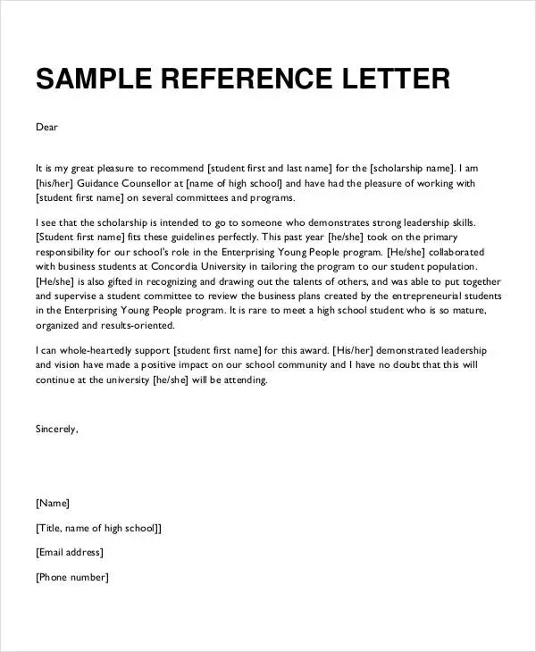 Formal Reference Letter - 9+ Free Word, PDF Documents Download - letter of reference sample