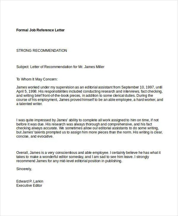 letter of recommendation samples